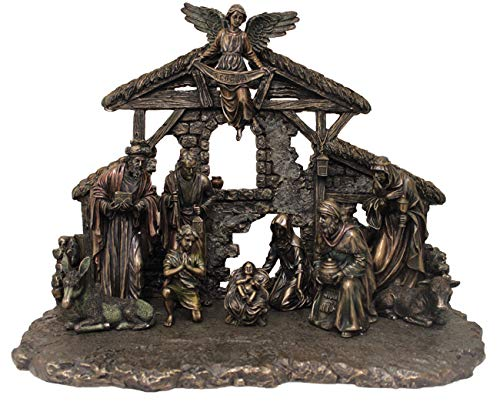 - Veronese Collection Holy Family Bronze 11-Piece Nativity Scene Set