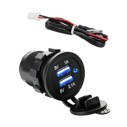 KINYOOO USB Cargador para Coche Barco Motocicleta con Indicador LED Azul, Impermeable Cargador Dual USB Toma de Corriente para Auto, Moto, Barcos, ...
