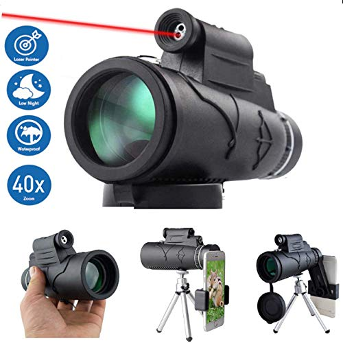 40x60 with Laser Pointer and Flashlight by MerryHub- Low Night Vision BAK4 FMC Prism for Smartphone with Tripod for Bird Watching, Camping, Travelling and Hunting ()