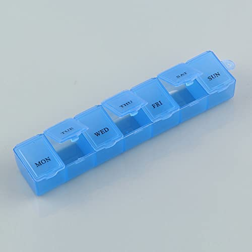 Weekly Medicine Storage Organizer Container Case 7 Day Tablet Pill Box Holder (Blue)