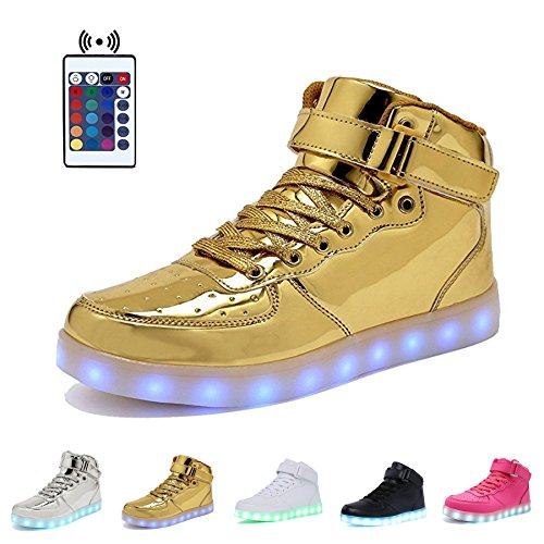 Price comparison product image High Top Velcro LED Light Up Shoes 7 Colors USB Flashing Rechargeable Walking Sneakers For Kids Boots With Remote Control(Toddler/Little Kids/Big Kids)-31(gold)