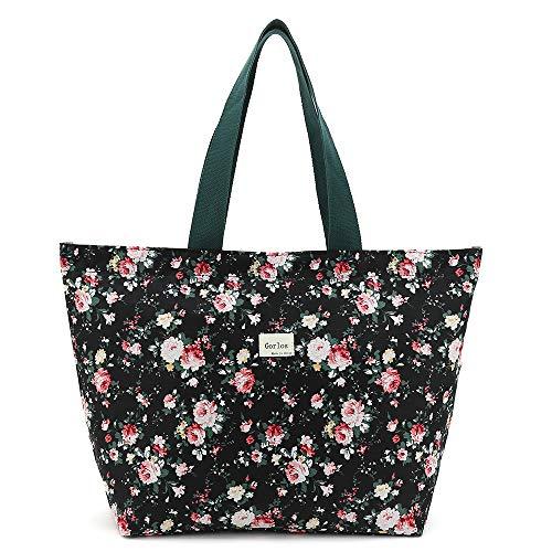 Tote Bag Shopping Bag Shoulder Handbag for Women,Coin Purse Cosmetic Bags Makeup Bag,School Backpack Travel Bag College Bags for Teen Girls Student Women (F-Tote Bag-Floral-Black)