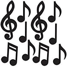 """Beistle 54735-BK Mini Musical Notes Silhouettes (10 Pack), 5.5""""-10.25"""", Black"""