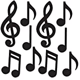 "Beistle 54735-BK Mini Musical Notes Silhouettes (10 Pack), 5.5""-10.25"", Black"