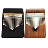 Baoblaze Set of 2 17 Keys Solid Mahogany Kalimba Mbira Finger Percussion with Bag Tuning Tools Black+Wood