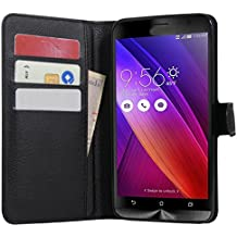 Zenfone 2 Case, Fettion Premium PU Leather Wallet Flip Phone Protective Case Cover with Card Slots for ASUS ZenFone 2 ZE550ML / ZE551ML / Deluxe / Deluxe Special Edition Smartphone (Wallet - Black)
