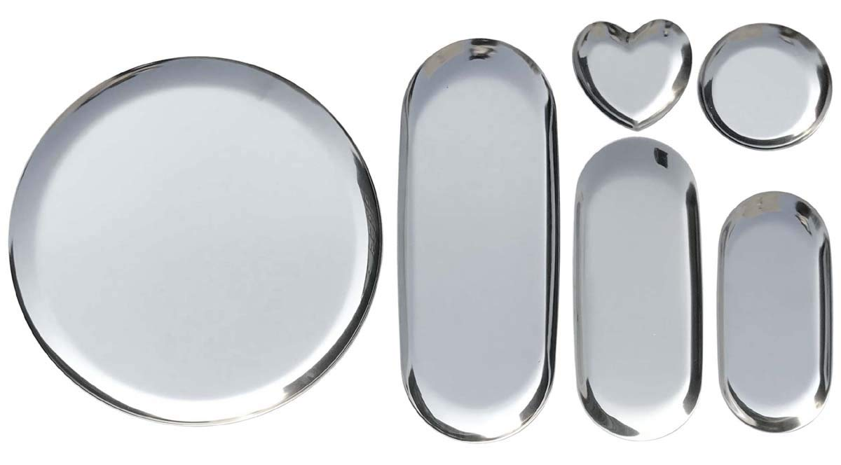 FREELOVE Stainless Steel Serving Plate, Fruit Food Storage Dish Salad Snack Bread Dessert Serving Platter Jewelry Display Trays (Silver 6 Packs)