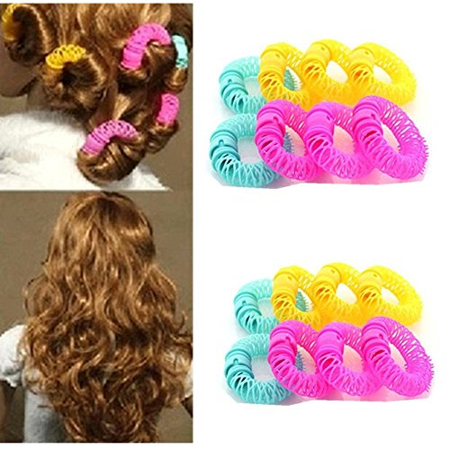 Wed2BB 12pcs Magic Doughnut Donut Sticks Rollers Circle Spiral Plastic Hair Curly Curler Curl Roll Ringlets Wave Hairdressing Care Hairstyle Maker DIY Hair Styling Tool - Hair Ringlets