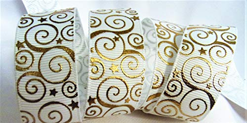 Grosgrain Ribbon - White Ribbon with Whimsical Gold Swirls - 7/8