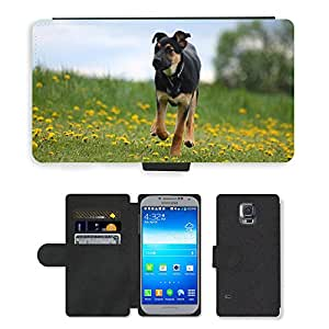 hello-mobile PU LEATHER case coque housse smartphone Flip bag Cover protection // M00136151 Perro de perrito de la pradera // Samsung Galaxy S5 S V SV i9600 (Not Fits S5 ACTIVE)