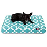 1 Piece Teal Blue Trellis Pattern Dog Bed (Large), Elegant Geometric Print Pet Bedding For Puppies, Features Removable Cover, Water & Stain Resistant, Thick & Supportive, Rectangle Shape, Polyester