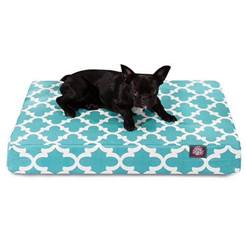 1 Piece Teal Blue Trellis Pattern Dog Bed (Medium), Elegant Geometric Print Pet Bedding For Puppies, Features Removable Cover, Water & Stain Resistant, Thick & Supportive, Rectangle Shape, Polyester by Unknown