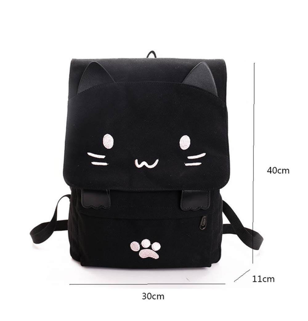 Pink MEOBHI School Backpack Cute Cat Canvas Backpack Cartoon Embroidery Backpacks For Teenage Girls School Bag Casual Black Printing Rucksack