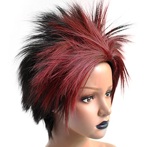 Anogol Hair Cap+Synthetic Hair Red Ombre Black Cosplay Wig Costume Short Straight Hairstyles For Games Wigs
