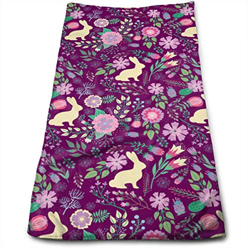 (ZTAMORYWW Easter Bunnies Spring Floral Raspberry Wine Sport Travel Towel Quick Dry, Super Absorbent, Multi-Purpose Towel, Ideal for Outdoor,Sports, Travel)