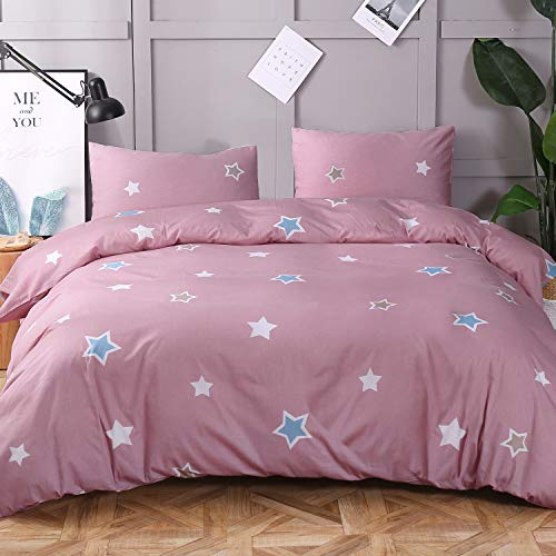 - Cosics Cotton Duvet Cover King, 3pcs Star Printed Pink Bedding Collection with 90″×104″ Quilt Protector & 2pcs 36″×20″ Pillowcases, with Zip Closure