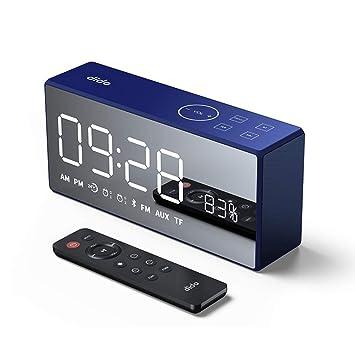 OOLIFENG Despertador, Bocina Bluetooth Reloj Digital con Snooze Juego de Cartas AUX TF, Atenuador