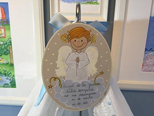 Cuadro de ángel de la guarda para niña recién nacida. Regalo personalizado para bebé. regalo hecho a mano para bautizo.