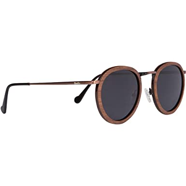 ad849db3c04 WOODIES Walnut Wood and Copper Round Sunglasses with Polarized Lens and Wood  Display Box
