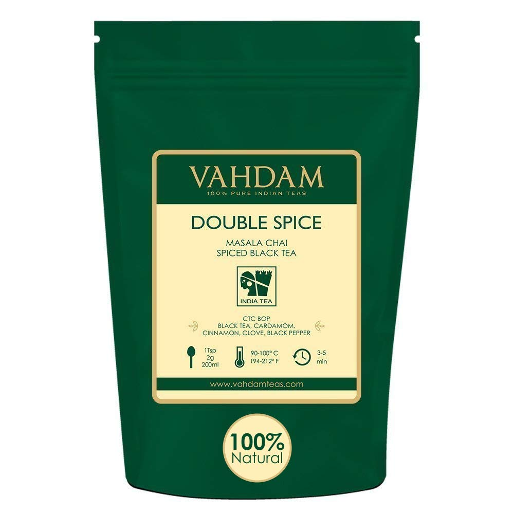 VAHDAM, Double Spice Masala Chai Tea (100 Cups), STRONG & SPICY, 100% Natural Ingredients |   Blend of Black Tea, Cardamom, Cinnamon, Cloves & Black Pepper | Brews Chai Latte | Packed at Source| 7oz by VAHDAM