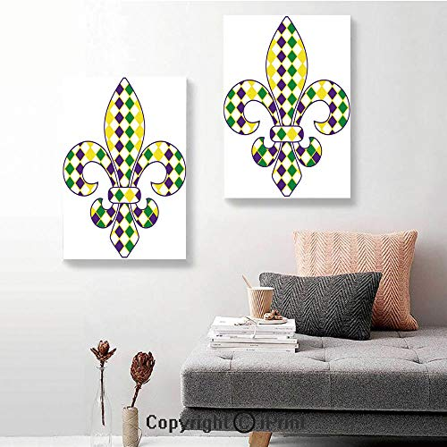 SfeatruRWF Canvas Wall Art Decor,Ancient Fleur De Lis with Traditional Festival Pattern Venetian Vintage Decorative,24