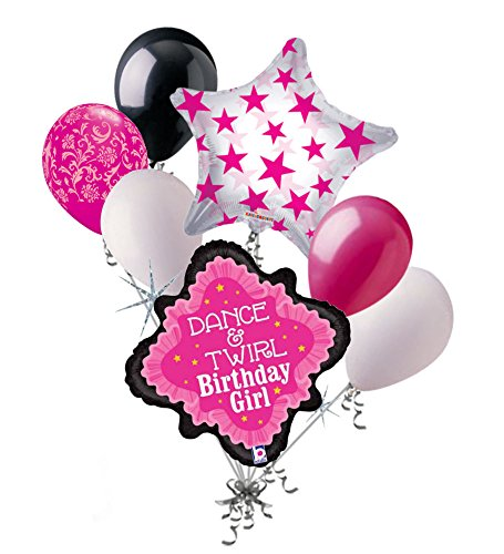 7 pc Pink Dance Lace Happy Birthday Balloon Bouquet Party Decoration Ballerina -
