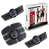 Gratefit Muscle Toner - Abs Stimulator Slim Fit - Waist Trainer for Women Men Abdomen Workout Fitness - Ab Arm Leg Portable Exercise Equipment - EMS Abdominal Toning Belt Machine With 10 Extra Gels