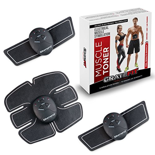 Gratefit Muscle Toner - Abs Stimulator Slim Fit - Waist Trainer for Women Men Abdomen Workout Fitness - Ab Arm Leg Portable Exercise Equipment - EMS Abdominal Toning Belt Machine With 10 Extra Gels by Gratefit