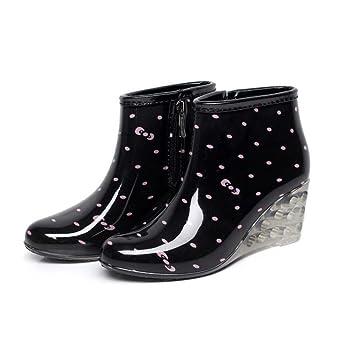 391c4799081 SISHUINIANHUA Botas de Lluvia para Mujer Pendiente Plana con Botas de Lluvia  Botas Cortas de tacón Alto Zapatos de Agua para Lluvia  Amazon.es   Deportes y ...