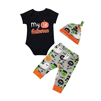 bornbayb enfant baby boys my 1st halloween rompers sets 3 pieces pumpkin printed outfit set