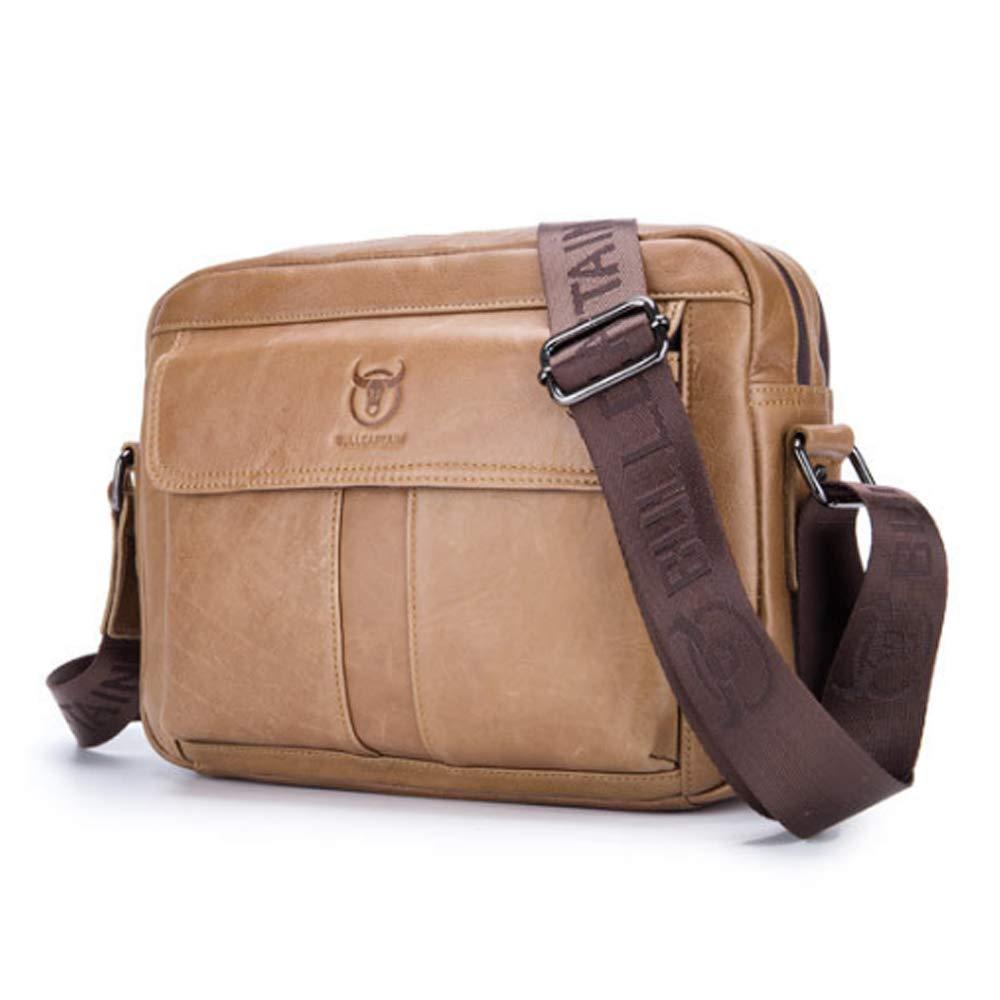 MUMUWU Men's Shoulder Bags First Layer Leather Shoulder Crossbody Bag Sports Casual Crossbody Men's Bag Men Front Chest Bag (Color : Brass, Size : L)