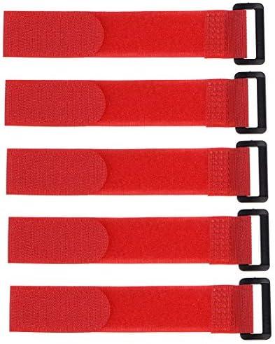 uxcell フックとループのストラップ25mm x 200mmストラップ固定再利用可能な固定ケーブルタイ(レッド)5個