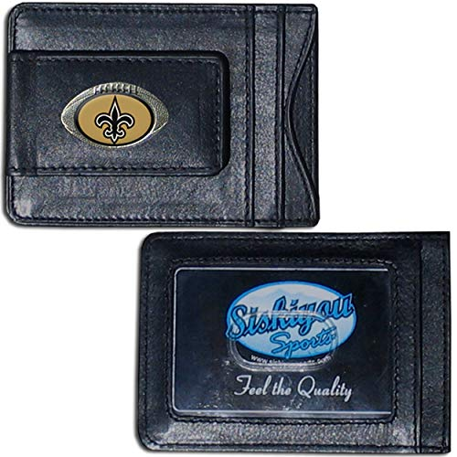 NFL New Orleans Saints Credit Card Holder 4', Leather Money Clip Sports American Football Themed Fan Merchandise Saints Team Logo Spirit Magnetic Black