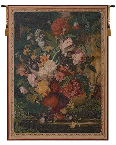 Bouquet Wall Tapestry - Home Furnishings, Bouquet Flamand, French Tapestry Wall Hanging, Wall Art Decor, 44 by 58 Inch