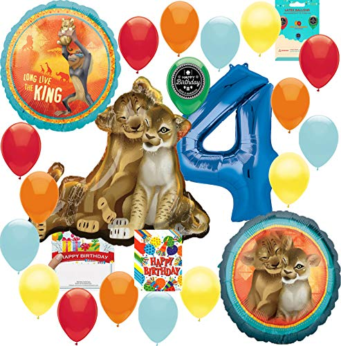 Lion King Party Supplies 4th Birthday Balloon Decoration Supply Bundle with Happy Birthday Card and 8 Treat Bags]()
