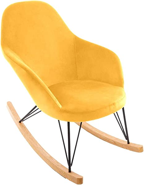 Atmosphera Rocking Chair Fauteuil à Bascule Velours Moutarde Ewan
