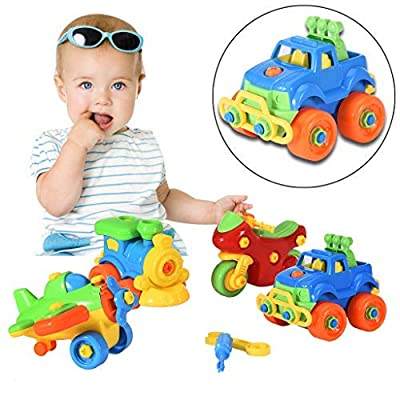 SSZZoo Puzzle Game Building Toys,4Pcs Kids Assembling Learning Toys Lab Vehicle Assemble Toys for Boys Girls Play Set (Multicolour, 3-7Y): Toys & Games