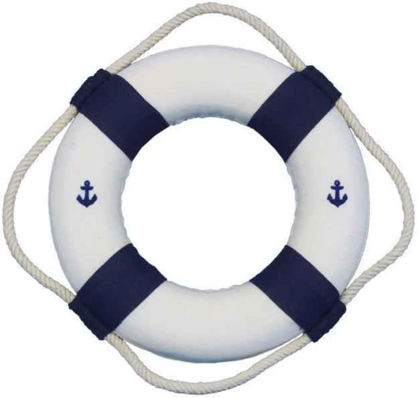 """Hampton Nautical Classic White Decorative Anchor Life Ring with Blue Bands, 6"""""""
