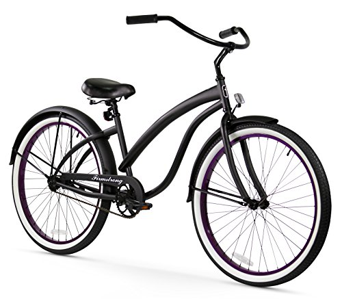 Firmstrong Bella Fashionista Single Speed Beach Cruiser Bicycle, 26-Inch, Matte Black/Purple Rims ()