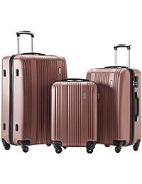 Luggage Sets Hard Suitcase set Spinner luggage set 3 Piece Set suitcases shell Lightweight (Rose glod)