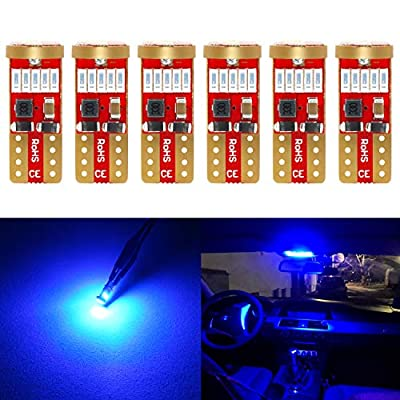 Phinlion 194 Blue LED Bulb Super Bright 168 175 2825 T10 Wedge 15-SMD 4014 Chipsets LED Replacement Bulbs for Car Dome Map Courtesy Trunk Parking License Plate Lights, Pack of 6: Automotive