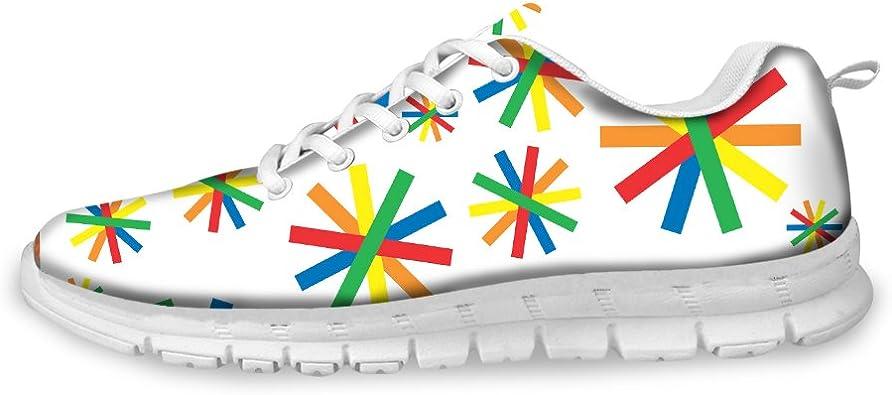 Zapatillas de Deporte para Mujer, Transpirables, para Correr, para Caminar, con Estampado de Flores y arcoíris, Color Blanco: Amazon.es: Zapatos y complementos