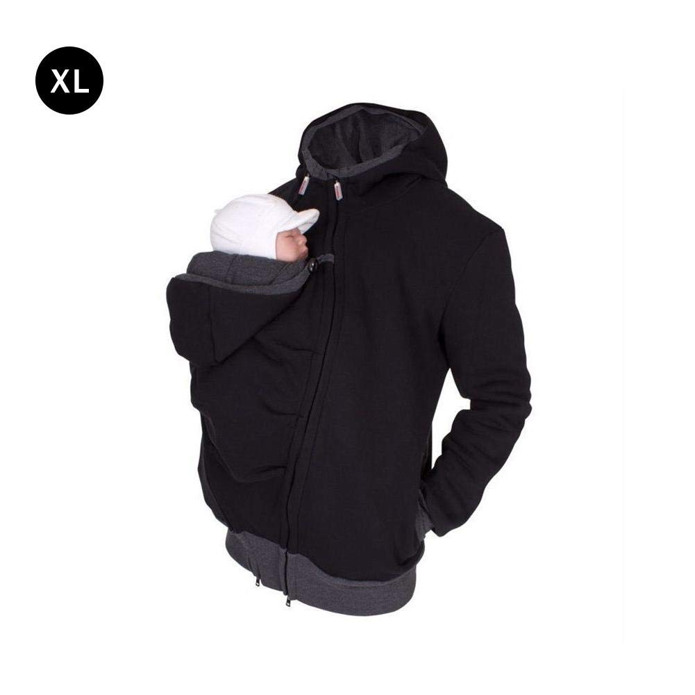 Luerme 2 In 1 Multi-Function Men's Kangaroo Hooded Sweatshirt for Baby Carriers Autumn And Winter Dressing Pouch  Fleece Sweater Hoodie Jacket Dad And Baby Carrier Coat Parenting Bag