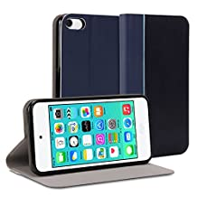 iPod touch 6th generation Case, GMYLE Wallet Case Slim for iPod touch 6 – Navy Blue Smart Shell Wallet Case