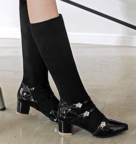 Aisun Belt Black On Slip Mid Women's Calf Booties Chic Toe Pointy EvwYqrxEC
