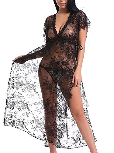(FasiCat Women Sexy Lace Mesh Lingerie Sleepwear Chemises Long Gown Nightdress)