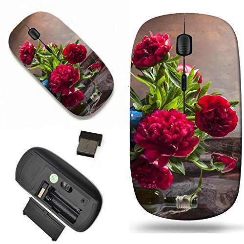 Luxlady Wireless Mouse Travel 2.4G Wireless Mice with USB Receiver, 1000 DPI for notebook, pc, laptop, mac design IMAGE ID 31561466 Pink peonies still life (Life Still Peony)