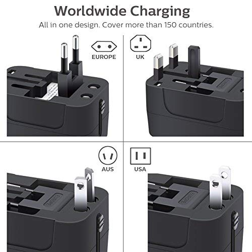 All in One International Universal Travel Adapter,Dual USB Charging Ports Converter for USA EU UK AUS European Compatible with Mobile Phone,Power Bank,Tablet,Laptop and Earphone. (Black) by LALAFO (Image #5)