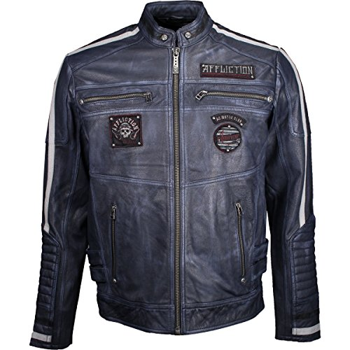 (Affliction Men's American Rebel Leather Moto Jacket, Pacific Blue,)