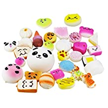 10 Pieces Random Squishy Charms Kawaii Soft Foods Jumbo Medium Mini Squishies Cake/Panda/Bread/Buns Phone Charm Key Chain Strap